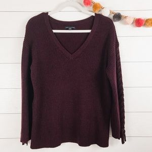 American Eagle | Burgundy Lace Up Sleeve Sweater